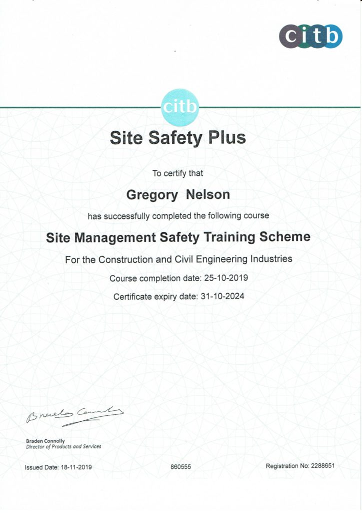 SMSTS Site management card