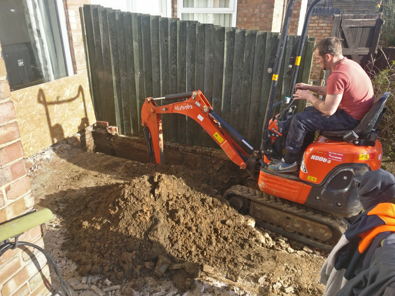 Mini digger excavation for new foundations
