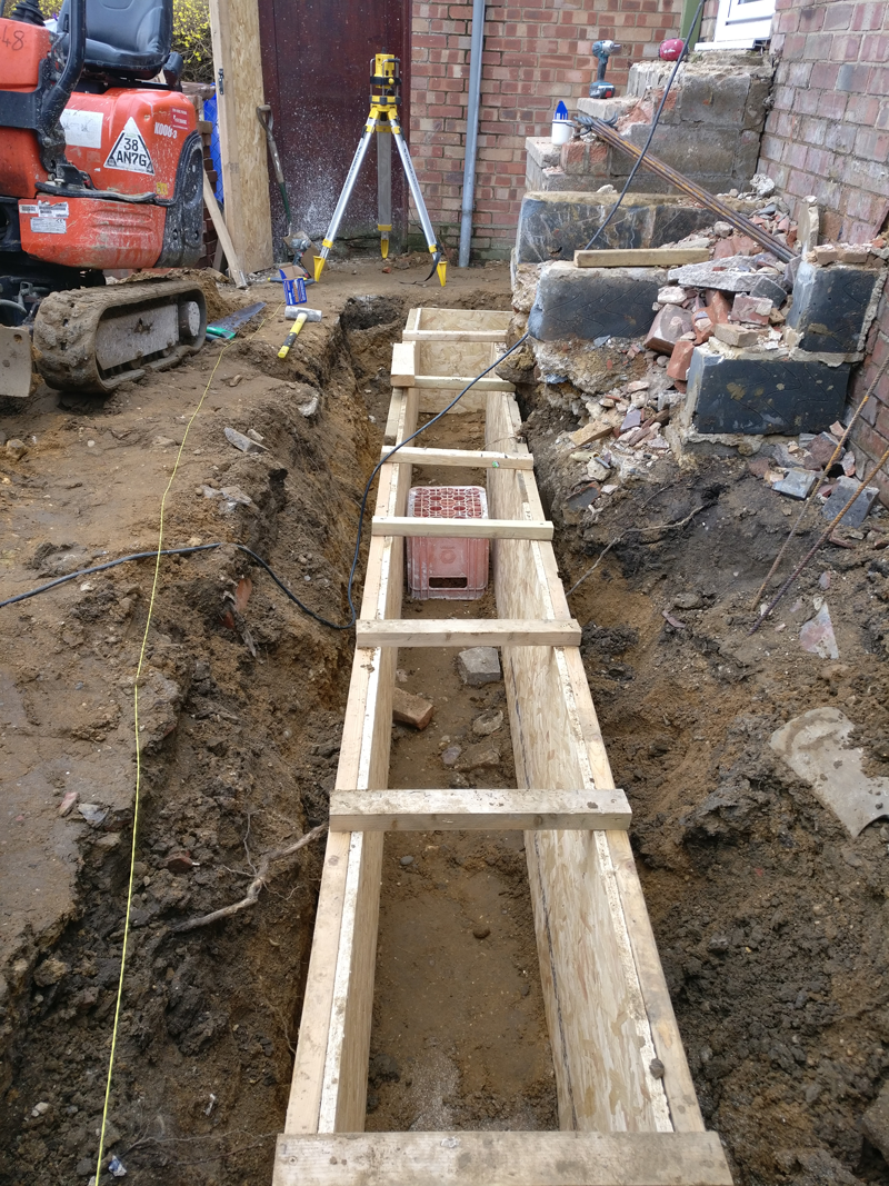 Shuttering ready for concrete