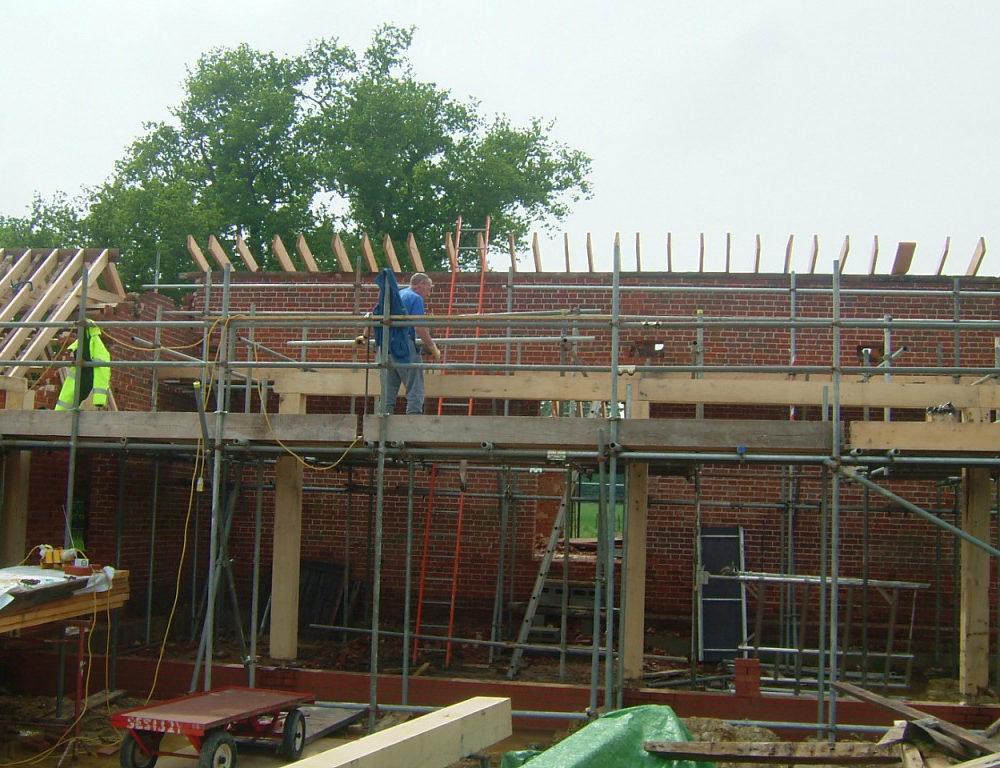 Oak principal beams installed