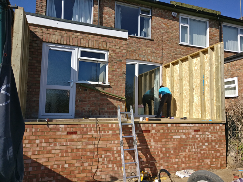brick work with timber frame