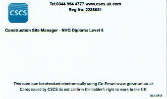 Reverse of managers card